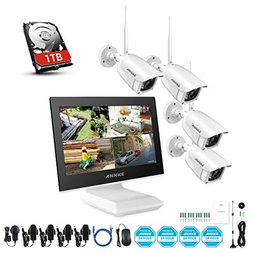 ANNKE 4CH Kit di Sorveglianza Videosorveglianza Wifi con Monitor LCD da 10,1'' Sistema di Videosorveglianza 1080P Plug e Play Salvaschermo Automatico Visione Notturna Accesso Remoto 1TB HDD