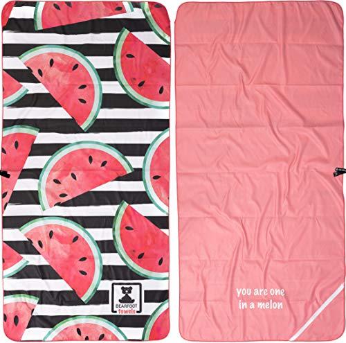 BEARFOOT Mikrofaser Handtuch mit Tasche | schnelltrocknende Handtücher - Microfaser Saunatuch, XXL Strandtuch, Badetuch groß, Reisehandtuch | Reise, Strand, Sauna (Wassermelone 200x90)