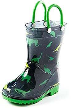 Puddle Play Toddler Dinosaur Rain Boots with Easy on Handles