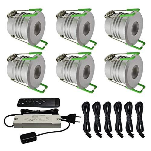 6X LED Beleuchtung 4W Dimmbar mit Fernsteuerung IP65 gegen Spritzwasser (Terrassenüberdachungen) CREE 2020