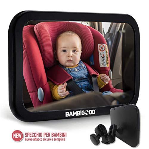 BAMBIGOOD Specchietto Retrovisore Bambini, Specchietto Retrovisore Auto Bambino, Specchietto Auto Bambini, Specchio Retrovisore Auto, Specchio Auto Neonato Regolabile, Specchio Retrovisore Interno