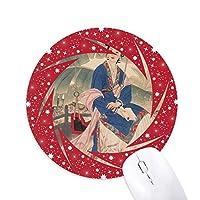 葉の白い花の青いピンクの服 円形滑りゴムの赤のホイールパッド