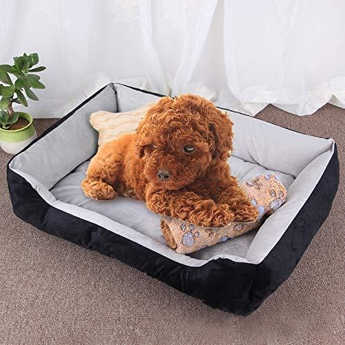 Qiuge Hundebett Weiche bequeme Memory Foam, orthopädisches Hundebett und -sofa (mit abnehmbarem Abdeckung), Hundeknochenspielzeug als Geschenk-Größe Größe: XS, 50 × 40 × 15 cm ( Color : Black Grey )