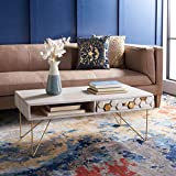 Safavieh Home Collection Raveena Mid-Century White Wash and Brass Hairpin Leg Coffee Table