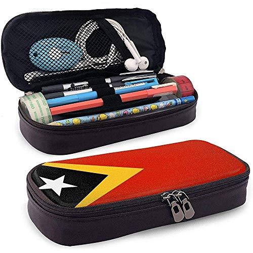 Timor-Leste Demokratische Republik Flagge Hohe Kapazität Leder Federmäppchen Stifthalter Veranstalter College Make-up Stift Tragbare Kosmetiktasche