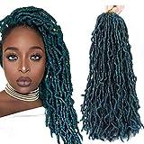 18 Inch New Faux Locs Crochet Hair Pre Looped 6 Packs Soft Goddess Locs Natural Crochet Braids Hair For Black Women Premium Fiber(1B/DGREEN, 18 Inch)