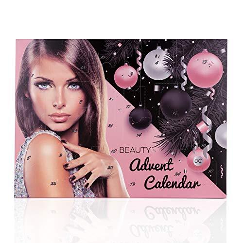 Accentra Adventskalender cosmetica voor vrouwen en tieners meisjes, make-up set met 24 make-up producten, leuke kleuren voor perfecte styling in de adventskalender
