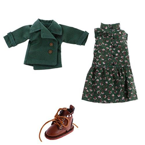 Vestido sin Mangas Floral de Manera + Capa + 1 Par Zapatos de Botas Lindos para 12 Pulgadas Blythe Muñeca