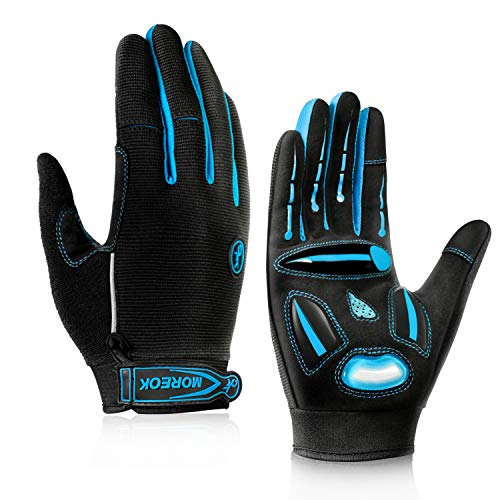 BIKINGMOREOK Cycling Gloves Mountain Bike Gloves MTB Gloves Biking Gloves Men Women,Full Finger Touch Screen Non-Slip Shockproof Gel Padded Dirt Bike Gloves Blue-L