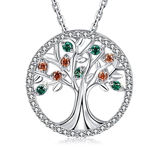 MEGA CREATIVE JEWELRY Family Tree of Life 925 Sterling Silver Pendant Necklace Crystal from Swarovski