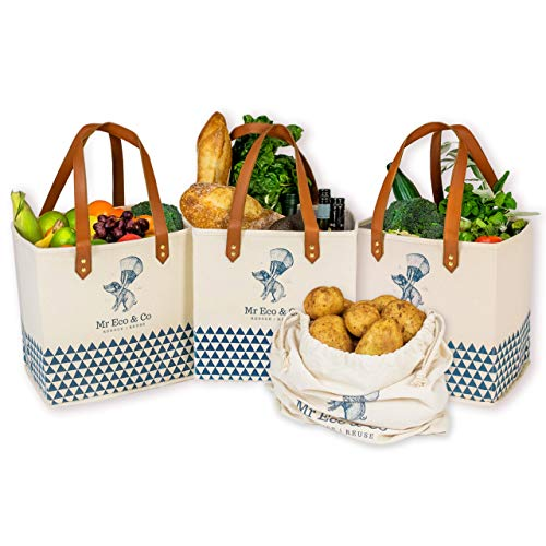 Boutique Collapsible Reusable-Grocery-Shopping-Bags Heavy-Duty. Quality Set of 3 Canvas Bags With Bonus Draw String Bag – 100% Cotton Canvas With Handles Made of Double Layered Vegan Leather