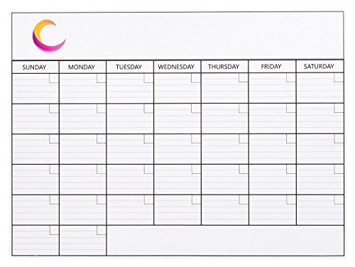 YAZE MAGNET Magnetic Refrigerator, Monthly Dry Erase Calendar, Magnet Fridge Planner, Write and Wipe Message Board