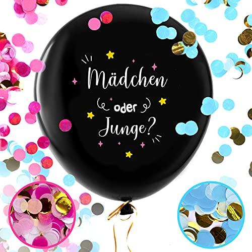 Balloono Gender Reveal Balloon (91cm) ● Komplett-Set mit Konfetti, Nadel, Fahnen und Schleife ● Einfaches Befüllen und geeignet für Helium