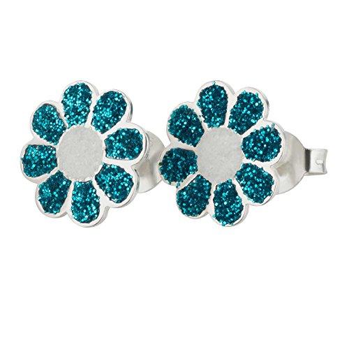 SL-Silver orecchini orecchini strass fiore 925Argento in confezione regalo