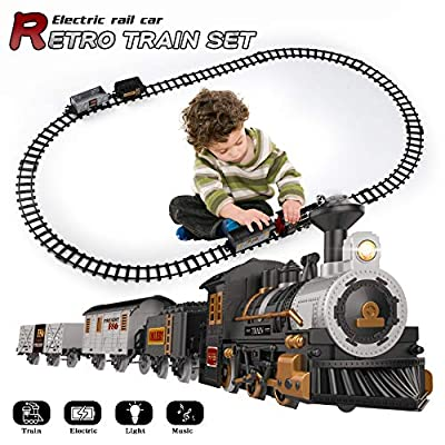 iHaHa Electric Train Set for Kids with Sound Light, Battery-Powered Train Toys with Locomotive Engine, 3 Cars and 10 Tracks, Toy Train Set Gifts for 3 4 5 6 Years Old Boys Girls
