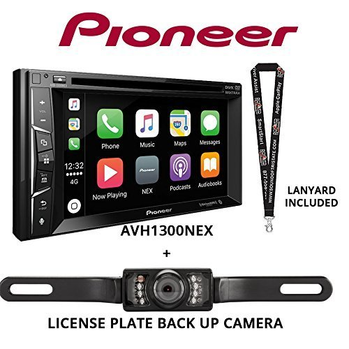 "Pioneer AVH-1300NEX 6.2"" DVD Receiver Apple CarPlay Built in Bluetooth with License Plate Style Backup Camera and a Free SOTS Lanyard Audio car DVD Electronics Features In-Dash Receivers Video"