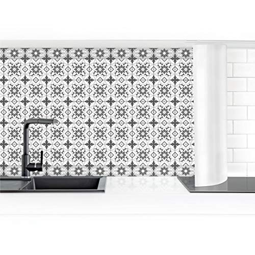 Bilderwelten Revestimiento Pared Cocina - Geometric Tiles Mix Flower Gray 60 x 100 cm Smart