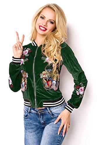 Grüne kurze Samt Blouson Jacke mit langen Ärmeln und Tiger sowie Blumenmuster Metallreißverschluss vorn L