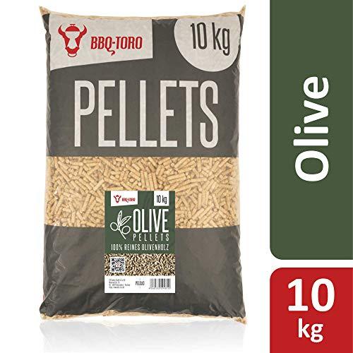 BBQ-Toro Olive Pellets aus 100% Olivenholz | 10 kg | Olivenpellets für Grill, Smoker, Pellet-Pizzaofen und Heizungsanlagen | Grillpellets (10.00)