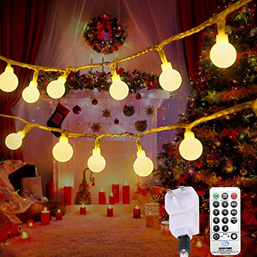 Outdoor Festoon Lights Globe String Lights Mains Powered 100LED 43FT 3.6W 8 Modes with Remote Control Tomshine