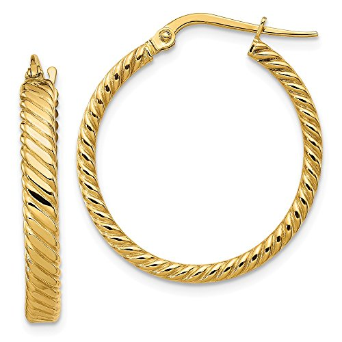 14k Yellow Gold Patterned Hoop Earrings (26x24mm) Gift for Women