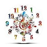 hufeng Reloj de Pared Colorido G-Clef Símbolo de Agudos con Notas Musicales Reloj de Pared Creativo Rítmico Adornado Decoración para el hogar Melodía Signo Musical Arte Reloj de Pared
