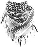 FREE SOLDIER Bufanda Militar Shemagh Tactical Desert Keffiyeh Bufanda de Cuello con Cabeza Bufanda árabe con Borla 43x43 Pulgadas,Blanco