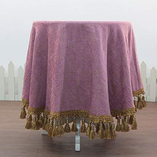 CHGDFQ Mantel redondo de lujo para mesa, mantel de encaje jacquard, para bodas, fiestas, banquetes, manteles retro (tamaño: 130 x 130 cm)