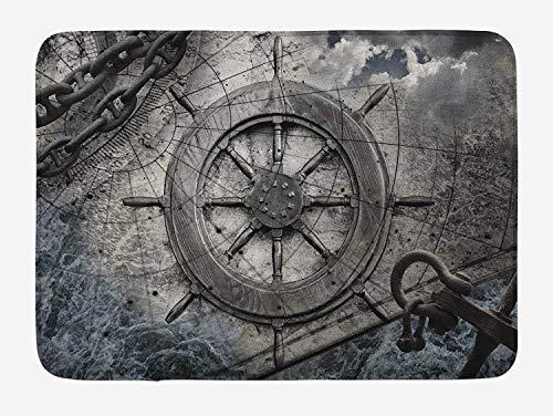 AoLismini Schiffsrad-Badeteppich, Retro-Navigationszubehör-Illustration mit Lenkradgrafiken, Ankerketten, Plüsch-Badezimmerdekorationsteppich mit Flugabwehrträger