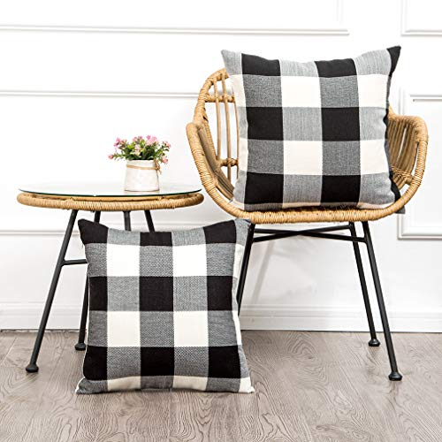 MKLFBT Pack of 2 Farmhouse Decor Christmas Pillow Covers 18 x 18 Black White Buffalo Checked Plaids Fall Throw Pillow Covers Cushion Covers for Sofa Couch Outdoor Camping