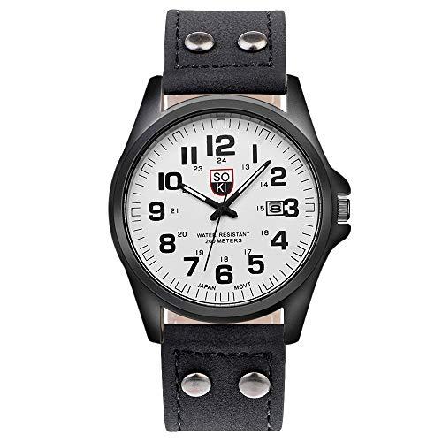 Souarts Herren Kalender Armbanduhr mit Leder Armband Männer Analog Quarzuhr mit Batterie (Schwarz/Weiss)