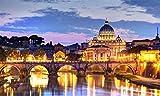 Puzzle de Madera de 1500 Piezas para Adultos,puzzle 12 años Roma Tíber y Basílica de San Pedro