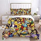 The Simpsons - Juego de cama de 3 piezas para cama individual, ligero, suave, fácil de cuidar, funda de almohada y juegos de sábanas