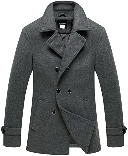 Wantdo Men's Casual Business Peacoat Outdoor Windproof Warm Overcoat Grey M