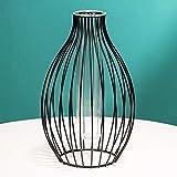 YHNJI Jarrón de tubo de prueba de marco de metal, moderno jarrón de vidrio para...