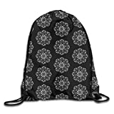 show best Black and White Heart Flower and Butterfly Mandala Drawstring Gym Bag for Women and Men Polyester Gym Sack String Backpack for Sport Workout, School, Travel, Books 14.17 X 16.9 Inch