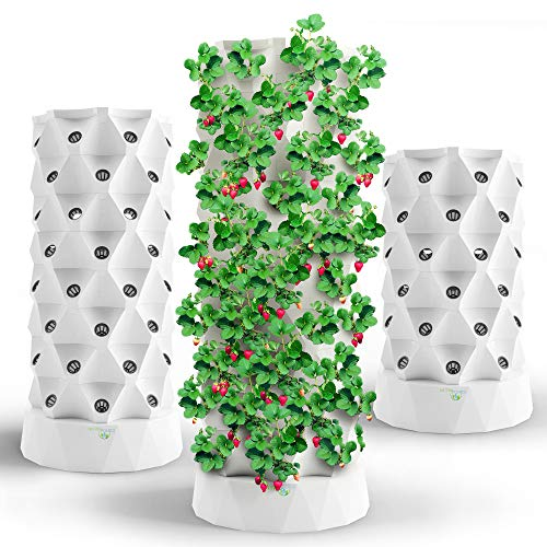 Hydroponics Tower Aquaponics Grow System | Garden Tower Aeroponics Growing Kit For Indoor & Outdoor - Herbs, Fruits And Vegetables - Hydrating Pump, Timer, Adapter, Seeding Bed & Net Pots (48 Pots)