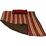 Sunnydaze Hammock Pad and Pillow Set Only - Polyester Quilted Hammock Cushion Pad and Hammock Pillow with Ties - Outdoor Weather-Resistant - Awning Stripe