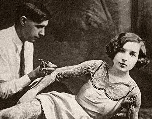 Quirky Tattooed Lady Bizarre Strange Weird Vintage Photo - 11x14 Unframed Print - Perfect Tattoo Parlor Decor Under $15