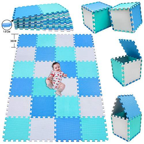 MSHEN Puzzlematte 24 Stück   Kälteschutz   abwaschbar Kinderspielteppich Matte   puzzlematte Baby   Trainingsmatte. Größe 1,94 Quadrat.Weiß-Blau-Türkis   010708