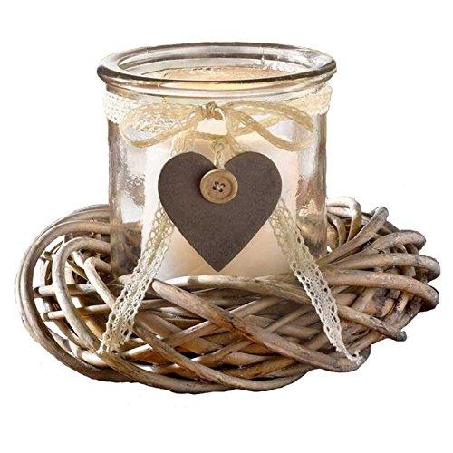 SIDCO Windlicht Kranz Kerzenhalter Herz Kerzenglas Weidenkranz Laterne Glas Landhaus