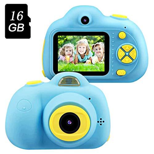 ZCFXGHH Kinder-Kamera Spielzeug für 5-9 Jahre Alten Jungen,Kompakt-Camcorder Beste Geburtstags-Festival-Geschenke für Kinder (16 GB Speicherkarte im Lieferumfang enthalten),Blau