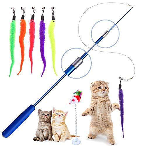 Interaktives Katzenspielzeug, Einziehbare Katze Teaser Zauberstab Spielzeug Set Mit 5 Katzenangel Ersatzfedern mit Glöckchen für Katze und Haustier, Blau