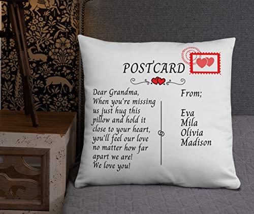 Funda de almohada de lona de 45 x 45 cm, funda de almohada de postal de 16 x 16 cm, funda de almohada de Nana abrazando nana para la abuela, regalo de cumpleaños de Nana, regalo de larga distancia