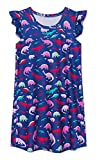 uideazone Pajama Dresses for Girls, Kids Dinosaur Flutter Sleeve Nightgowns Pajama Sleepwear Princess Night Dresses for Home Casual Indoor