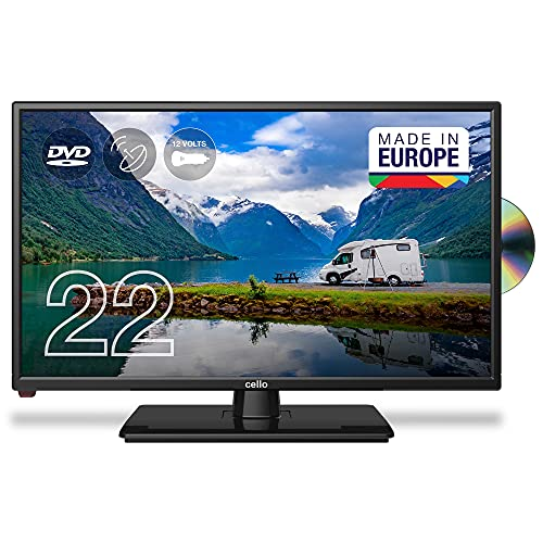 Cello 12 Volt C2220FMTRDE 22' (64,6 cm Diagonale) Traveller Full HD LED Digital TV mit eingebautem DVD Player, DVBT2 S2 Triple Tuner und 12V/24V für Wohnmobil, Truck, LKW