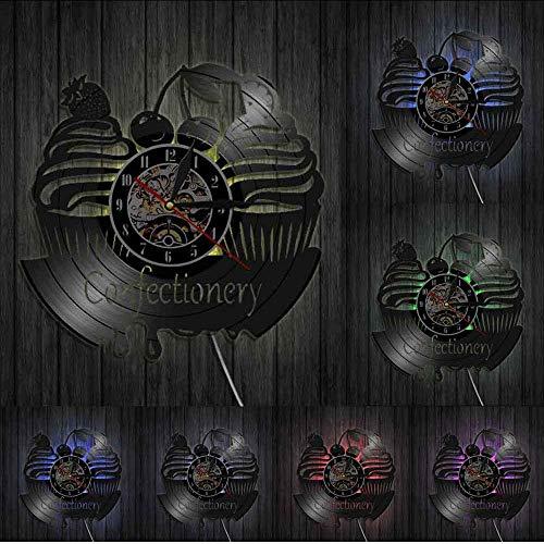 Relojes De Pared Signo De Pared De Negocios De Confitería Reloj De Pared Moderno Dulces Cupcake Disco De Vinilo Reloj De Pared Panadería Cereza Pastel Reloj Decorativo Iluminado