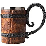 Onsinic Taza de madera de la cerveza del barril, bebedero en forma de cubo con mango, taza doble de la pared del acero inoxidable para el bar restaurante, accesorios de la barra del vintage