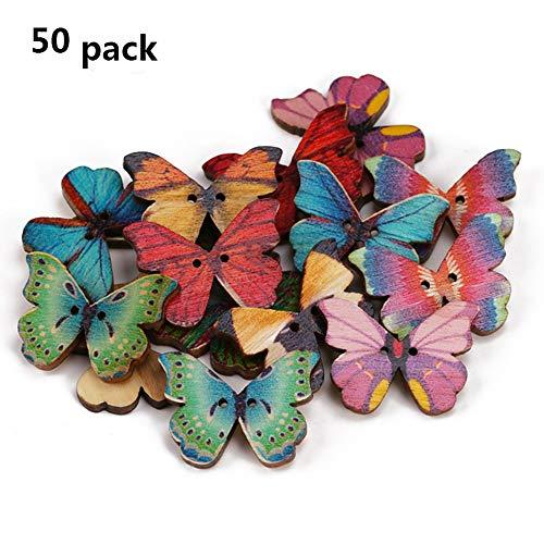 Aofocy 50pcs 2 Agujeros Mezclados Mariposa botón de Madera de Costura Scrapbooking DIY Craft