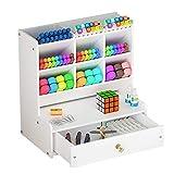 Organizador de escritorio blanco, gran capacidad DIY caja de soporte para bolígrafos, estante de...
